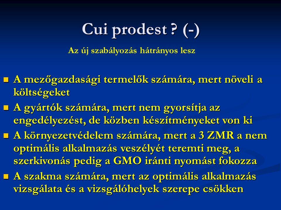Cui prodest ? (-) A mezőgazdasági termelők számára, mert növeli a költségeket A mezőgazdasági termelők számára, mert növeli a költségeket A gyártók sz