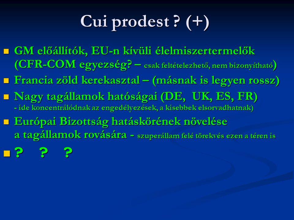 Cui prodest ? (+) GM előállítók, EU-n kívüli élelmiszertermelők (CFR-COM egyezség? – csak feltételezhető, nem bizonyítható ) GM előállítók, EU-n kívül