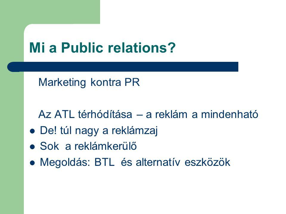 A PR alkalmazási területei Belső PR (munkatársak, menedzsment, pletyka, HR, hálózati kommunikáció) Külső PR( marketing-PR, corporate PR, sajtókapcsolatok,szakmai kapcsolatok, ágazati kapcsolatok, kisebbségi kapcsolatok, önkormányzati, issue menedzsment, pénzügyi kapcsolatok/támogatás,mecenatúra, szponzoráció, válságmenedzsment)
