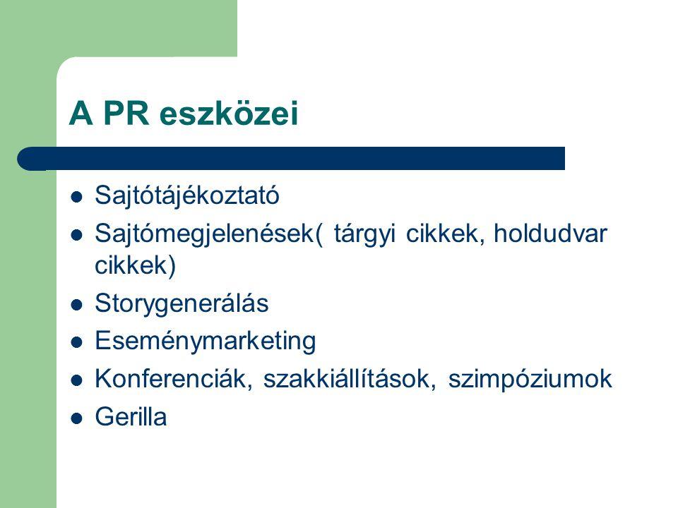 A PR eszközei Sajtótájékoztató Sajtómegjelenések( tárgyi cikkek, holdudvar cikkek) Storygenerálás Eseménymarketing Konferenciák, szakkiállítások, szim
