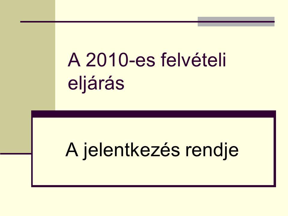 A 2010-es felvételi eljárás A jelentkezés rendje