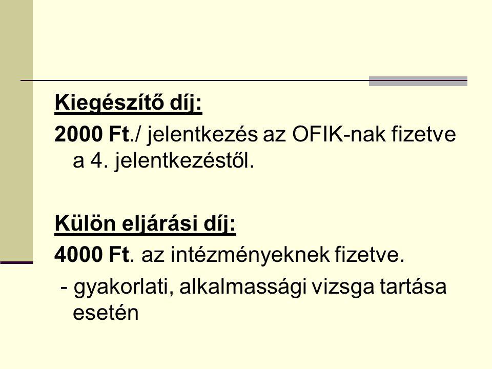 Kiegészítő díj: 2000 Ft./ jelentkezés az OFIK-nak fizetve a 4.