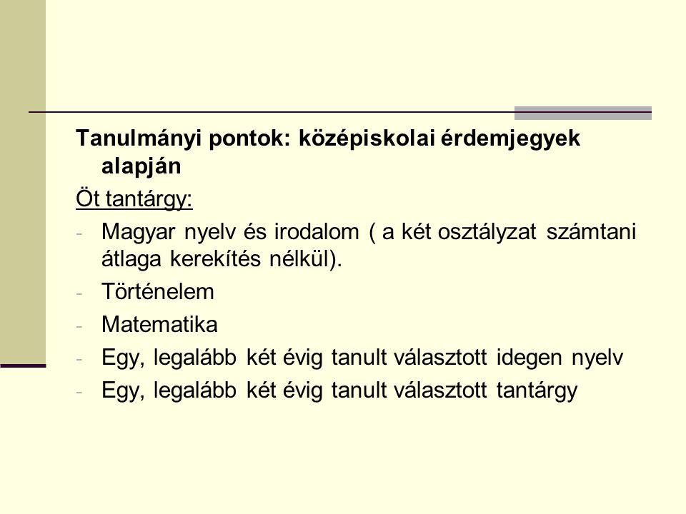 Tanulmányi pontok: középiskolai érdemjegyek alapján Öt tantárgy: - Magyar nyelv és irodalom ( a két osztályzat számtani átlaga kerekítés nélkül).