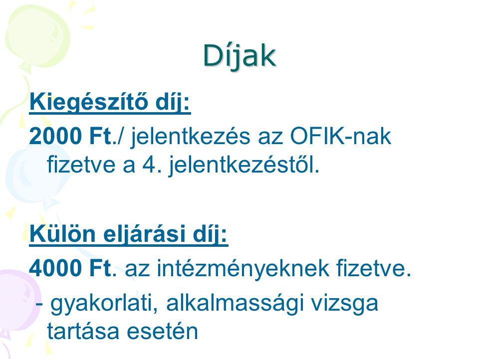 Díjak Kiegészítő díj: 2000 Ft./ jelentkezés az OFIK-nak fizetve a 4. jelentkezéstől. Külön eljárási díj: 4000 Ft. az intézményeknek fizetve. - gyakorl