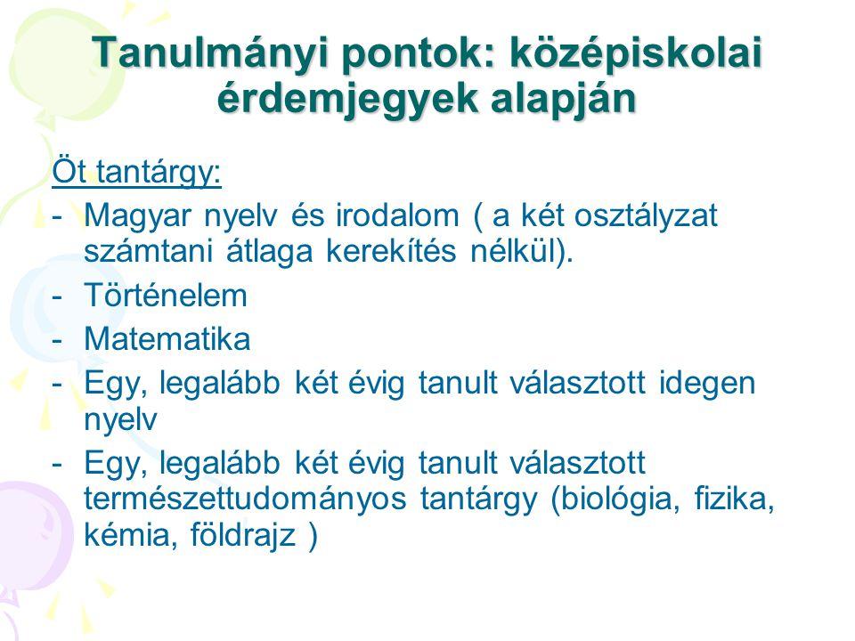 Tanulmányi pontok: középiskolai érdemjegyek alapján Öt tantárgy: -Magyar nyelv és irodalom ( a két osztályzat számtani átlaga kerekítés nélkül).