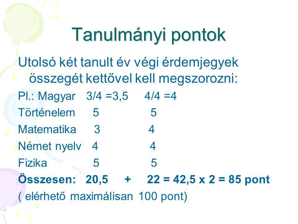 Tanulmányi pontok Utolsó két tanult év végi érdemjegyek összegét kettővel kell megszorozni: Pl.: Magyar 3/4 =3,5 4/4 =4 Történelem 5 5 Matematika 3 4