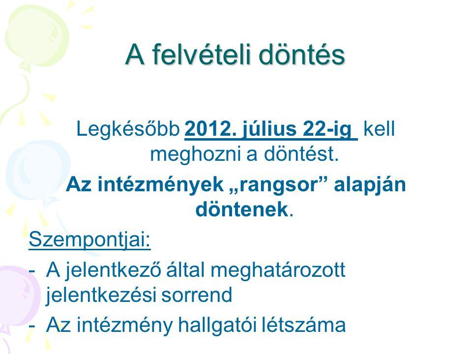 """A felvételi döntés Legkésőbb 2012. július 22-ig kell meghozni a döntést. Az intézmények """"rangsor"""" alapján döntenek. Szempontjai: -A jelentkező által m"""