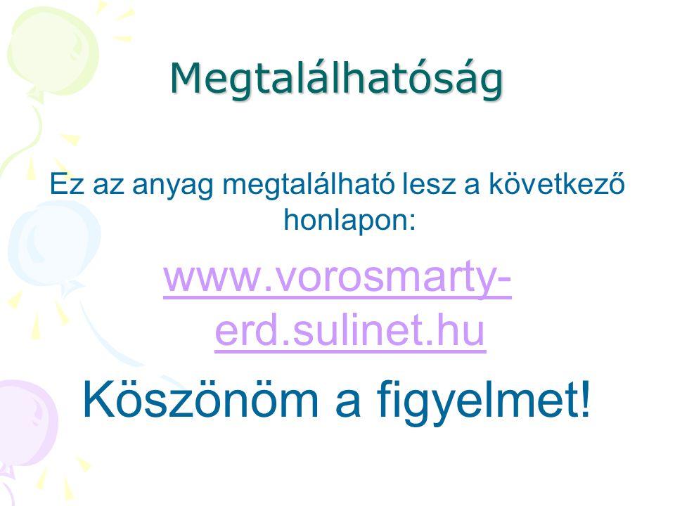 Megtalálhatóság Ez az anyag megtalálható lesz a következő honlapon: www.vorosmarty- erd.sulinet.hu Köszönöm a figyelmet!