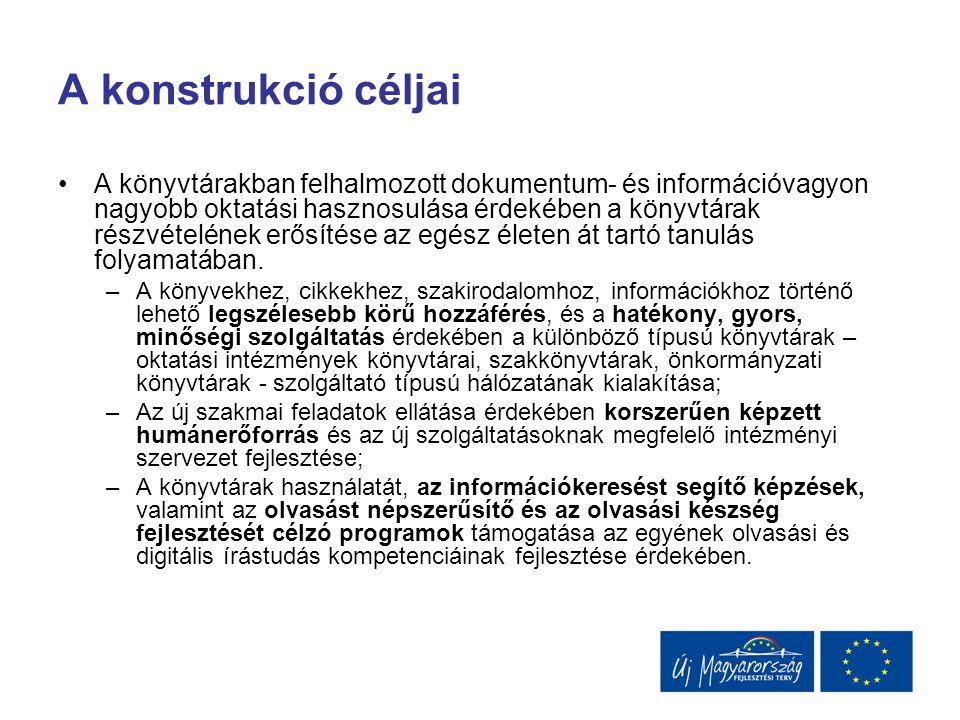 A kulturális értékek digitalizálása Az oktatás szempontjából fontos válogatott közgyűjteményi (könyvtár, múzeum, levéltár) tartalmak digitalizálása 3 egymásra épülő konstrukció: –A digitalizálás módszertani előkészítése az OSZK koordinációs szerepével: KMOP 4.6.2.