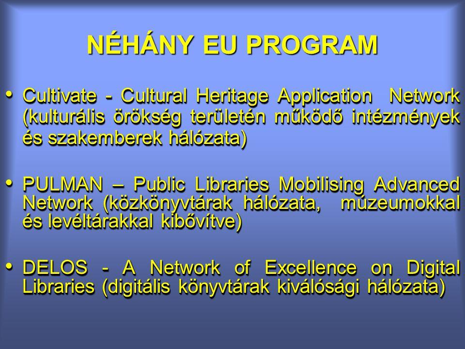 NÉHÁNY EU PROGRAM Cultivate - Cultural Heritage Application Network (kulturális örökség területén működő intézmények és szakemberek hálózata) Cultivate - Cultural Heritage Application Network (kulturális örökség területén működő intézmények és szakemberek hálózata) PULMAN – Public Libraries Mobilising Advanced Network (közkönyvtárak hálózata, múzeumokkal és levéltárakkal kibővítve) PULMAN – Public Libraries Mobilising Advanced Network (közkönyvtárak hálózata, múzeumokkal és levéltárakkal kibővítve) DELOS - A Network of Excellence on Digital Libraries (digitális könyvtárak kiválósági hálózata) DELOS - A Network of Excellence on Digital Libraries (digitális könyvtárak kiválósági hálózata) Cultivate - Cultural Heritage Application Network (kulturális örökség területén működő intézmények és szakemberek hálózata) Cultivate - Cultural Heritage Application Network (kulturális örökség területén működő intézmények és szakemberek hálózata) PULMAN – Public Libraries Mobilising Advanced Network (közkönyvtárak hálózata, múzeumokkal és levéltárakkal kibővítve) PULMAN – Public Libraries Mobilising Advanced Network (közkönyvtárak hálózata, múzeumokkal és levéltárakkal kibővítve) DELOS - A Network of Excellence on Digital Libraries (digitális könyvtárak kiválósági hálózata) DELOS - A Network of Excellence on Digital Libraries (digitális könyvtárak kiválósági hálózata)