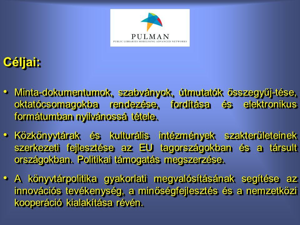 Céljai: Minta-dokumentumok, szabványok, útmutatók összegyűj-tése, oktatócsomagokba rendezése, fordítása és elektronikus formátumban nyilvánossá tétele