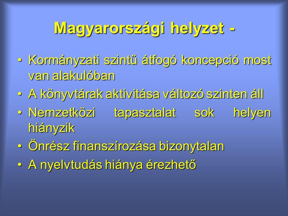 Magyarországi helyzet - Kormányzati szintű átfogó koncepció most van alakulóbanKormányzati szintű átfogó koncepció most van alakulóban A könyvtárak aktivitása változó szinten állA könyvtárak aktivitása változó szinten áll Nemzetközi tapasztalat sok helyen hiányzikNemzetközi tapasztalat sok helyen hiányzik Önrész finanszírozása bizonytalanÖnrész finanszírozása bizonytalan A nyelvtudás hiánya érezhetőA nyelvtudás hiánya érezhető