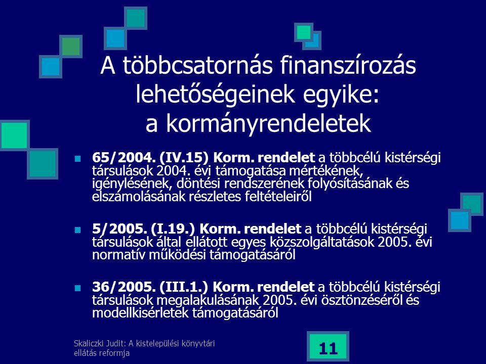 Skaliczki Judit: A kistelepülési könyvtári ellátás reformja 11 65/2004.