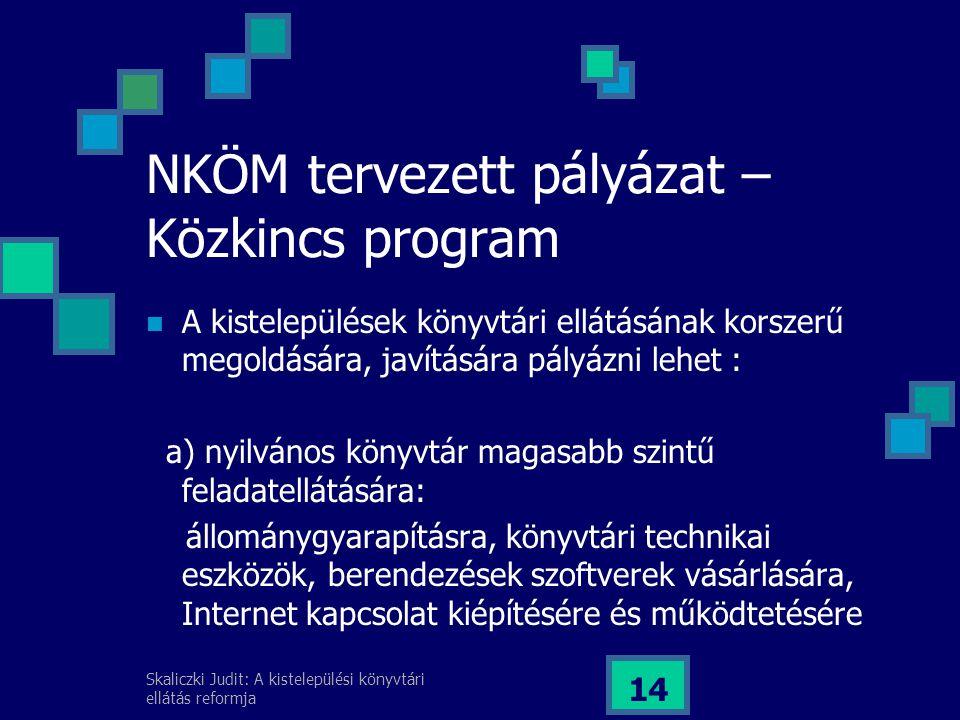 Skaliczki Judit: A kistelepülési könyvtári ellátás reformja 14 NKÖM tervezett pályázat – Közkincs program A kistelepülések könyvtári ellátásának korszerű megoldására, javítására pályázni lehet : a) nyilvános könyvtár magasabb szintű feladatellátására: állománygyarapításra, könyvtári technikai eszközök, berendezések szoftverek vásárlására, Internet kapcsolat kiépítésére és működtetésére