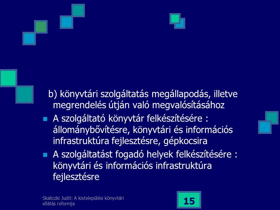 Skaliczki Judit: A kistelepülési könyvtári ellátás reformja 15 b) könyvtári szolgáltatás megállapodás, illetve megrendelés útján való megvalósításához A szolgáltató könyvtár felkészítésére : állománybővítésre, könyvtári és információs infrastruktúra fejlesztésre, gépkocsira A szolgáltatást fogadó helyek felkészítésére : könyvtári és információs infrastruktúra fejlesztésre