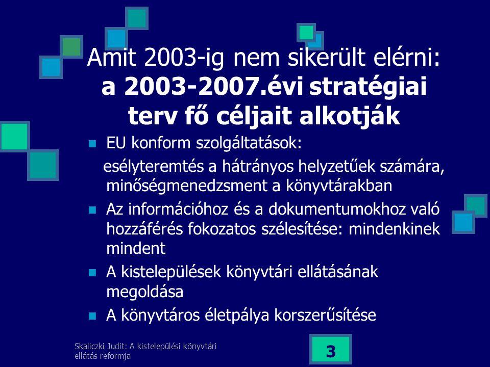 Skaliczki Judit: A kistelepülési könyvtári ellátás reformja 3 Amit 2003-ig nem sikerült elérni: a 2003-2007.évi stratégiai terv fő céljait alkotják EU konform szolgáltatások: esélyteremtés a hátrányos helyzetűek számára, minőségmenedzsment a könyvtárakban Az információhoz és a dokumentumokhoz való hozzáférés fokozatos szélesítése: mindenkinek mindent A kistelepülések könyvtári ellátásának megoldása A könyvtáros életpálya korszerűsítése