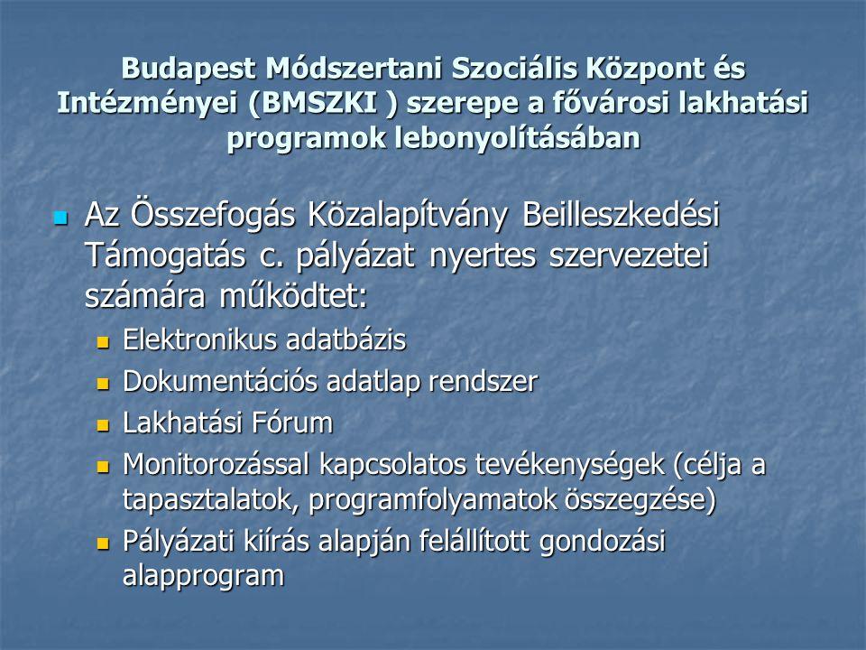 Budapest Módszertani Szociális Központ és Intézményei (BMSZKI ) szerepe a fővárosi lakhatási programok lebonyolításában Az Összefogás Közalapítvány Beilleszkedési Támogatás c.