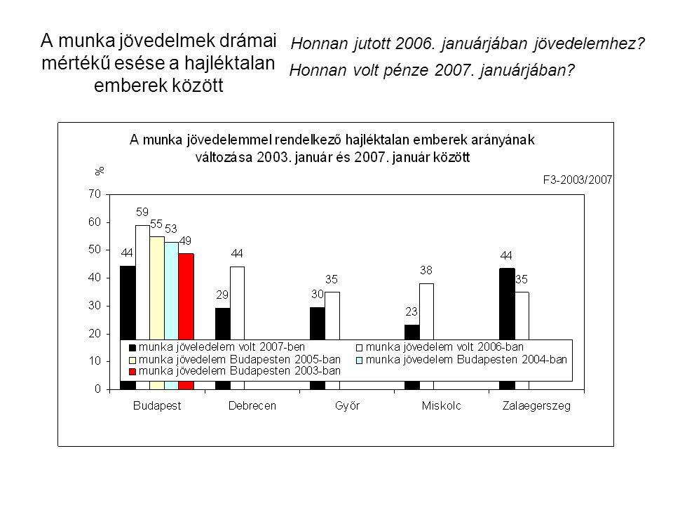A munka jövedelmek drámai mértékű esése a hajléktalan emberek között Honnan jutott 2006. januárjában jövedelemhez? Honnan volt pénze 2007. januárjában