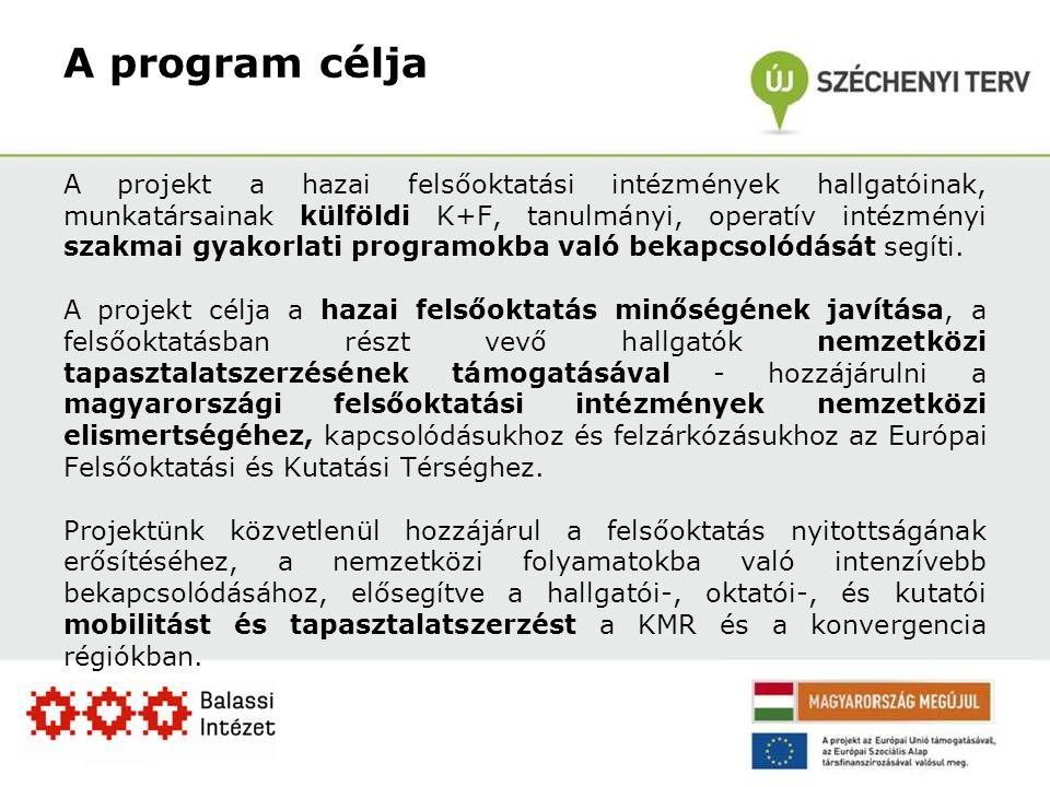 A program célja A projekt a hazai felsőoktatási intézmények hallgatóinak, munkatársainak külföldi K+F, tanulmányi, operatív intézményi szakmai gyakorlati programokba való bekapcsolódását segíti.