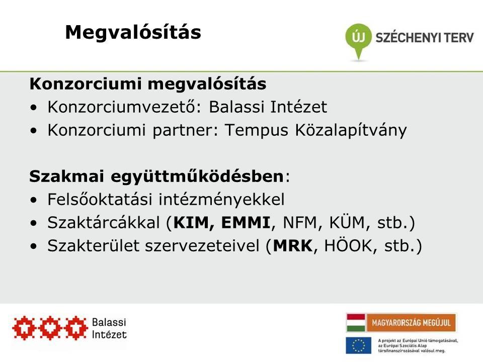 Megvalósítás Konzorciumi megvalósítás Konzorciumvezető: Balassi Intézet Konzorciumi partner: Tempus Közalapítvány Szakmai együttműködésben: Felsőoktatási intézményekkel Szaktárcákkal (KIM, EMMI, NFM, KÜM, stb.) Szakterület szervezeteivel (MRK, HÖOK, stb.)