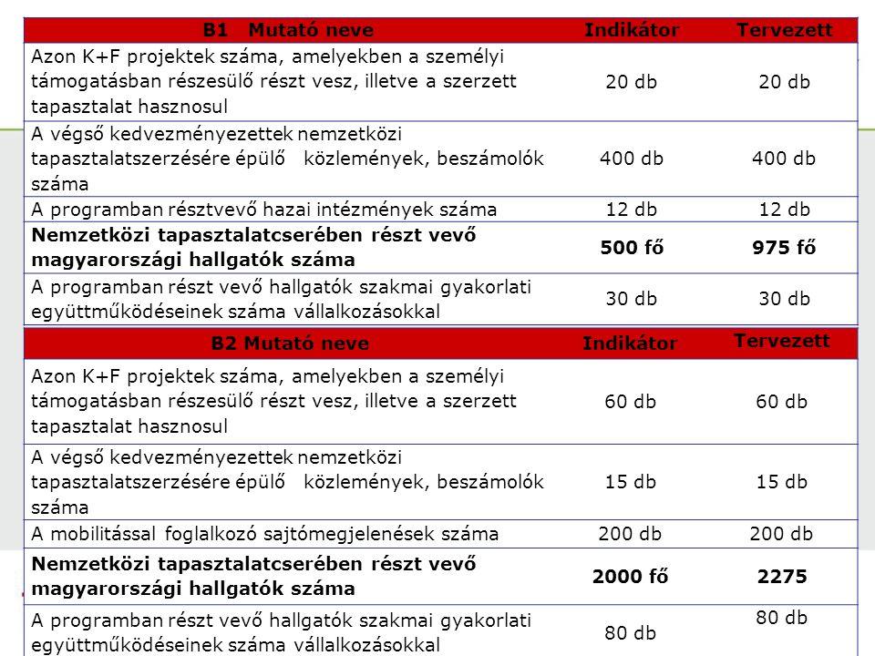 B1 Mutató neveIndikátor Tervezett Azon K+F projektek száma, amelyekben a személyi támogatásban részesülő részt vesz, illetve a szerzett tapasztalat hasznosul 20 db A végső kedvezményezettek nemzetközi tapasztalatszerzésére épülő közlemények, beszámolók száma 400 db A programban résztvevő hazai intézmények száma12 db Nemzetközi tapasztalatcserében részt vevő magyarországi hallgatók száma 500 fő975 fő A programban részt vevő hallgatók szakmai gyakorlati együttműködéseinek száma vállalkozásokkal 30 db B2 Mutató neveIndikátor Tervezett Azon K+F projektek száma, amelyekben a személyi támogatásban részesülő részt vesz, illetve a szerzett tapasztalat hasznosul 60 db A végső kedvezményezettek nemzetközi tapasztalatszerzésére épülő közlemények, beszámolók száma 15 db A mobilitással foglalkozó sajtómegjelenések száma200 db Nemzetközi tapasztalatcserében részt vevő magyarországi hallgatók száma 2000 fő2275 A programban részt vevő hallgatók szakmai gyakorlati együttműködéseinek száma vállalkozásokkal 80 db