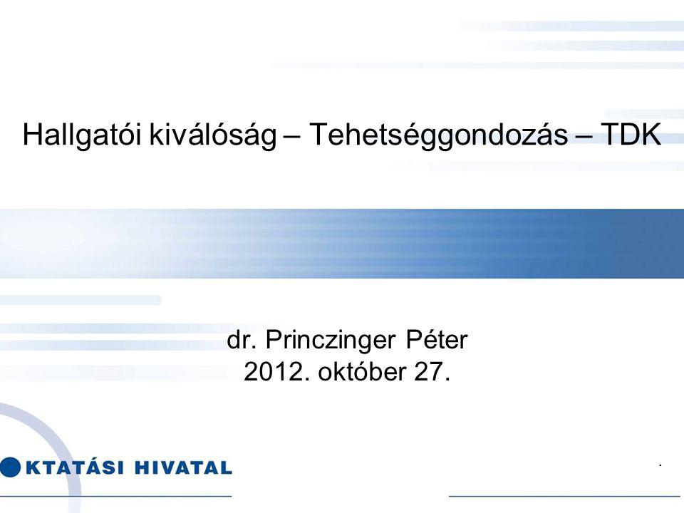 . Hallgatói kiválóság – Tehetséggondozás – TDK dr. Princzinger Péter 2012. október 27.