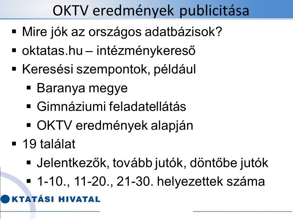OKTV eredmények publicitása  Mire jók az országos adatbázisok?  oktatas.hu – intézménykereső  Keresési szempontok, például  Baranya megye  Gimnáz