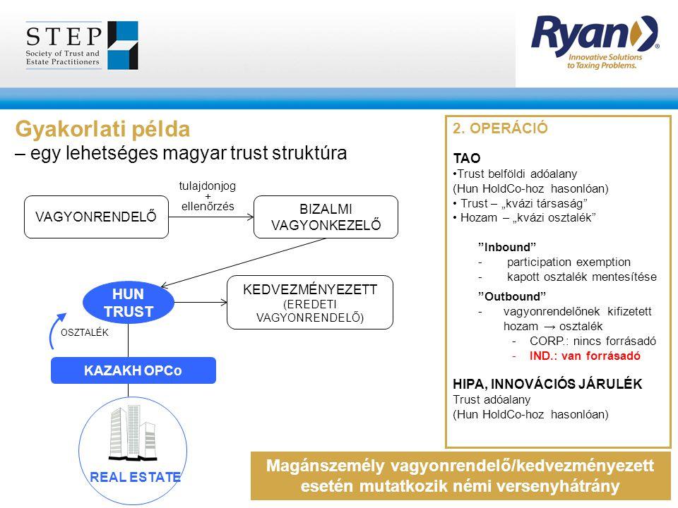 """2. OPERÁCIÓ TAO Trust belföldi adóalany (Hun HoldCo-hoz hasonlóan) Trust – """"kvázi társaság"""" Hozam – """"kvázi osztalék"""" """"Inbound"""" - participation exempti"""
