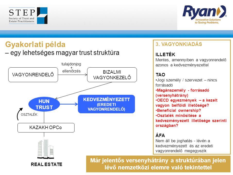 Gyakorlati példa – egy lehetséges magyar trust struktúra 3. VAGYONKIADÁS ILLETÉK Mentes, amennyiben a vagyonrendelő azonos a kedvezményezettel TAO Jog