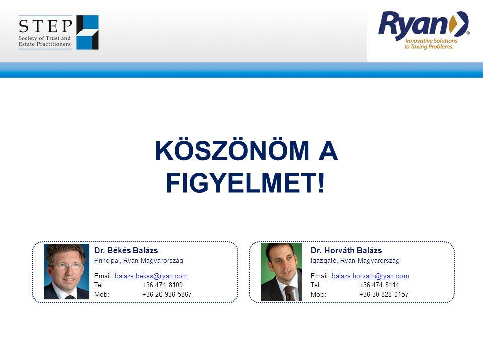 KÖSZÖNÖM A FIGYELMET! Dr. Békés Balázs Principal, Ryan Magyarország Email: balazs.bekes@ryan.com Tel: +36 474 8109 Mob: +36 20 936 5867 Dr. Horváth Ba