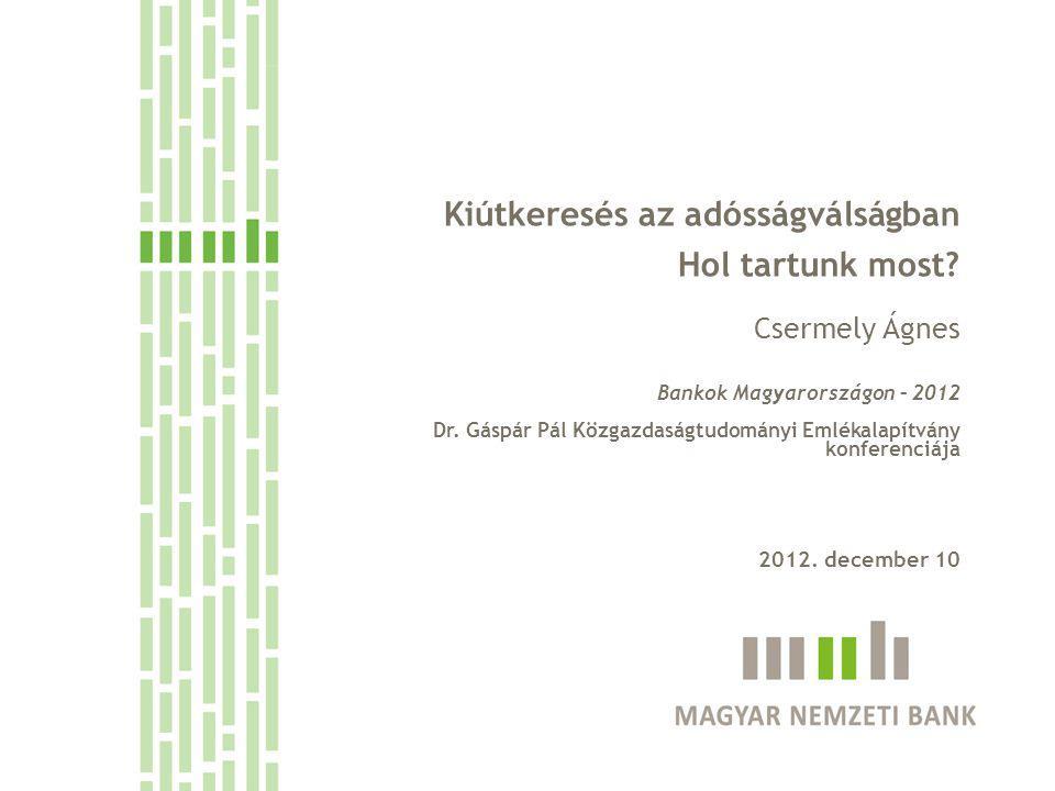 Kiútkeresés az adósságválságban Hol tartunk most. Csermely Ágnes Bankok Magyarországon – 2012 Dr.