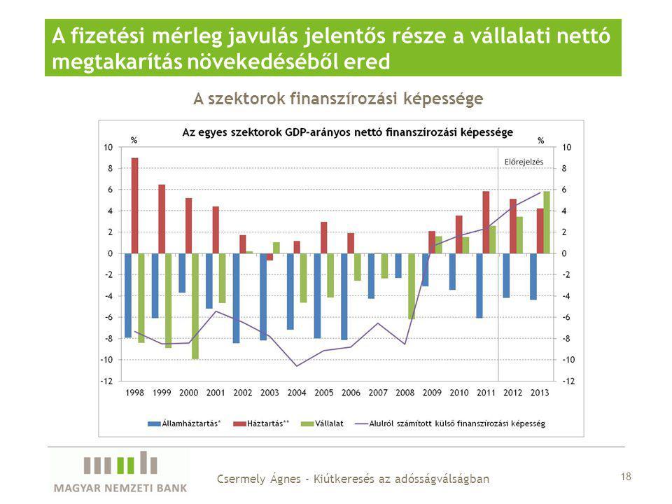 A szektorok finanszírozási képessége A fizetési mérleg javulás jelentős része a vállalati nettó megtakarítás növekedéséből ered 18 Csermely Ágnes - Kiútkeresés az adósságválságban