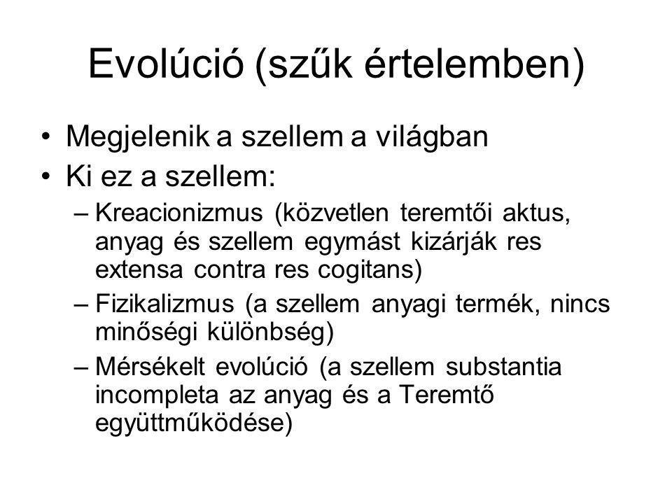 Evolúció (szűk értelemben) Megjelenik a szellem a világban Ki ez a szellem: –Kreacionizmus (közvetlen teremtői aktus, anyag és szellem egymást kizárjá