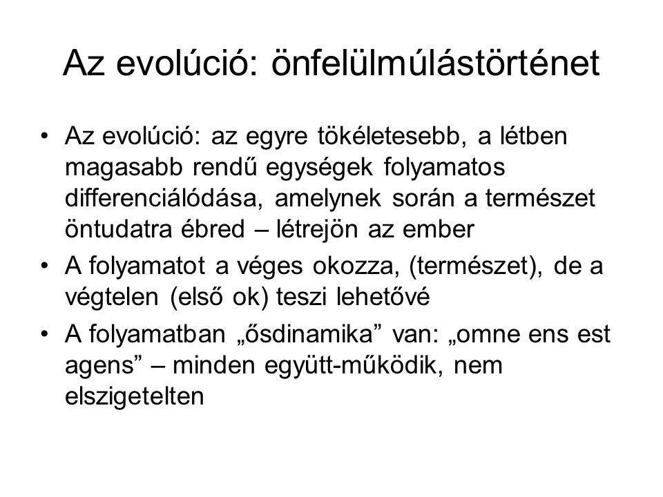 Az evolúció: önfelülmúlástörténet Az evolúció: az egyre tökéletesebb, a létben magasabb rendű egységek folyamatos differenciálódása, amelynek során a