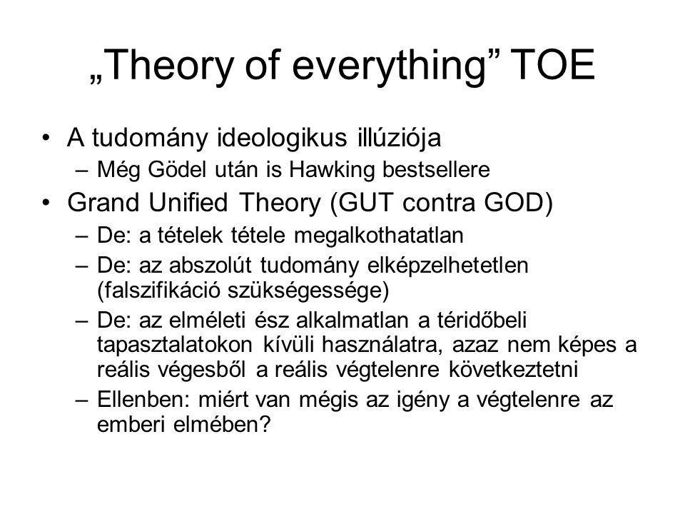 """Theory of everything"" TOE A tudomány ideologikus illúziója –Még Gödel után is Hawking bestsellere Grand Unified Theory (GUT contra GOD) –De: a tétele"
