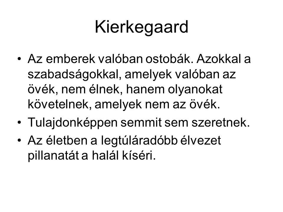 Kierkegaard Az emberek valóban ostobák. Azokkal a szabadságokkal, amelyek valóban az övék, nem élnek, hanem olyanokat követelnek, amelyek nem az övék.