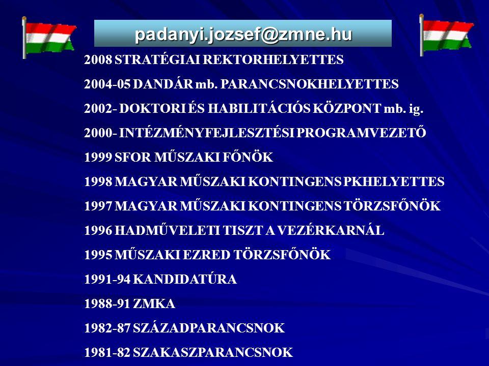 padanyi.jozsef@zmne.hu 2008 STRATÉGIAI REKTORHELYETTES 2004-05 DANDÁR mb. PARANCSNOKHELYETTES 2002- DOKTORI ÉS HABILITÁCIÓS KÖZPONT mb. ig. 2000- INTÉ