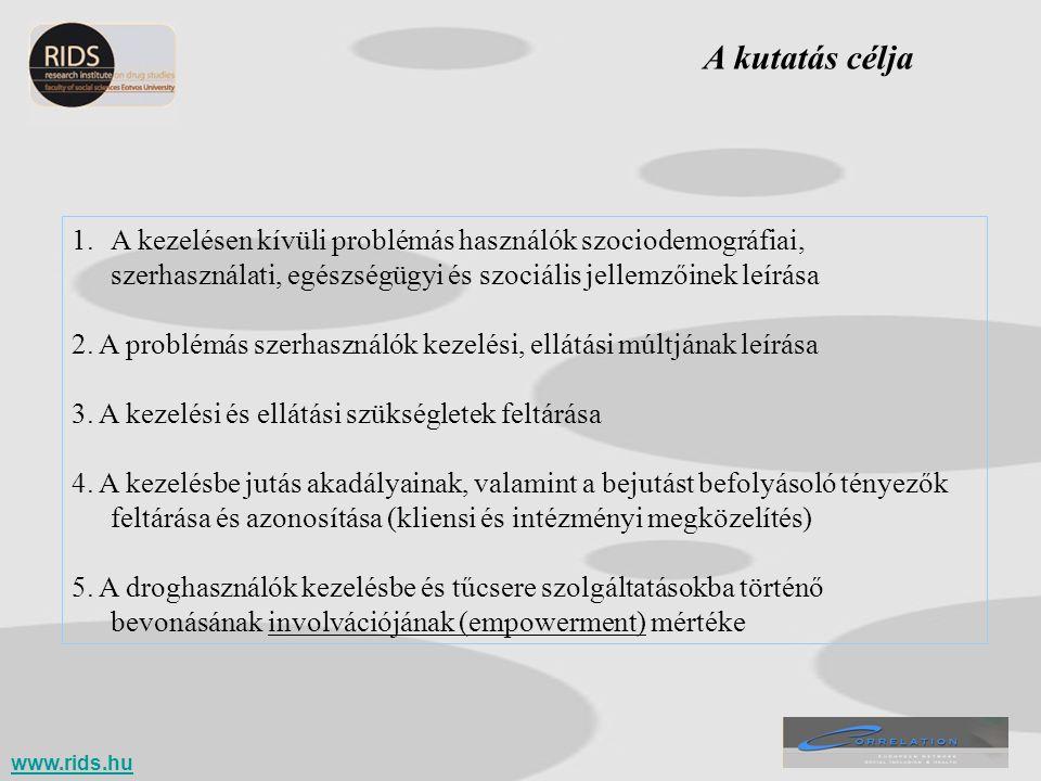 Fogalmi tisztázás Problémás droghasználó: EMCDDA definíció Kezelés: EMCDDA definíció Vizsgált kezeléstípusok: - ambuláns kezelés, - kórházi fekvőbeteg kezelés, - drogrehabilitáció, - nappali gondozás/ellátás, - metadon fenntartó kezelés, - pszichoszociális ellátási formák (alacsony küszöb) + tűcsere Kezelési piramis kritérium: 1.