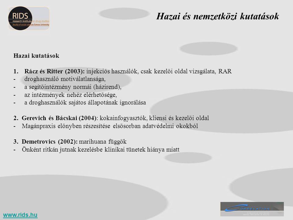 Hazai és nemzetközi kutatások Hazai kutatások 1.Rácz és Ritter (2003): injekciós használók, csak kezelői oldal vizsgálata, RAR -droghasználó motiválat