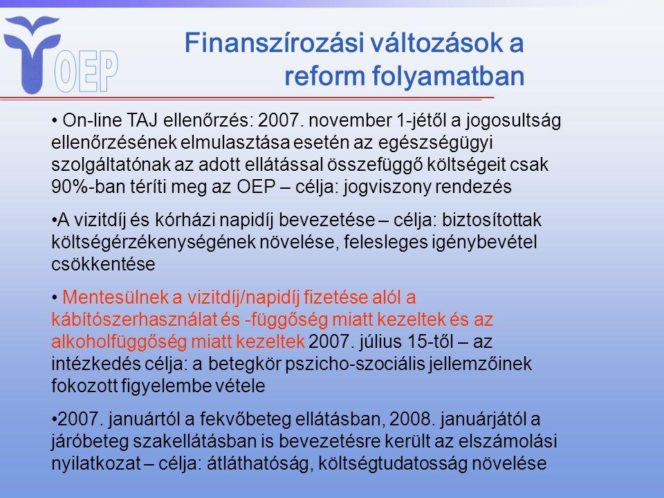 Finanszírozási változások a reform folyamatban On-line TAJ ellenőrzés: 2007. november 1-jétől a jogosultság ellenőrzésének elmulasztása esetén az egés