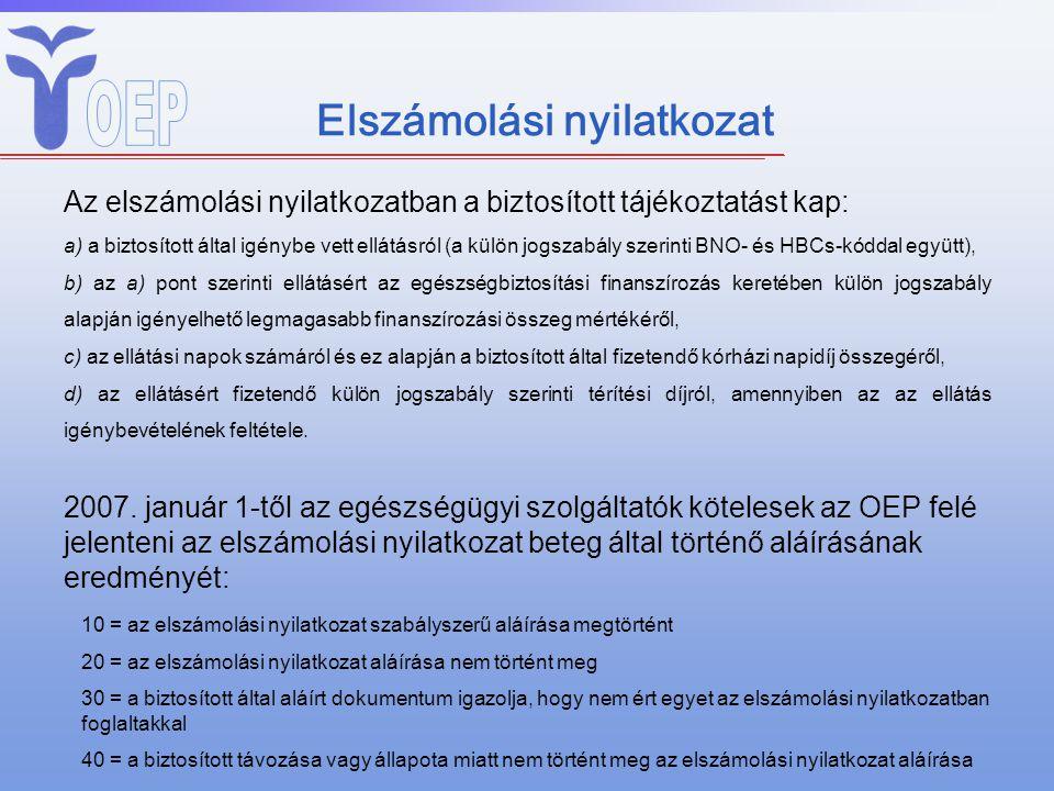 Elszámolási nyilatkozat Az elszámolási nyilatkozatban a biztosított tájékoztatást kap: a) a biztosított által igénybe vett ellátásról (a külön jogszab