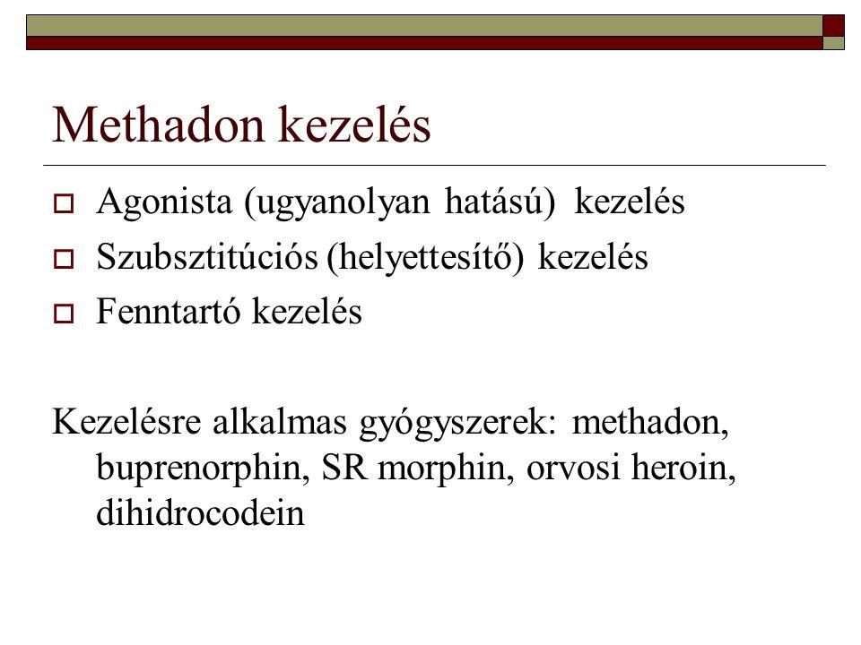 Methadon kezelés  Agonista (ugyanolyan hatású) kezelés  Szubsztitúciós (helyettesítő) kezelés  Fenntartó kezelés Kezelésre alkalmas gyógyszerek: me