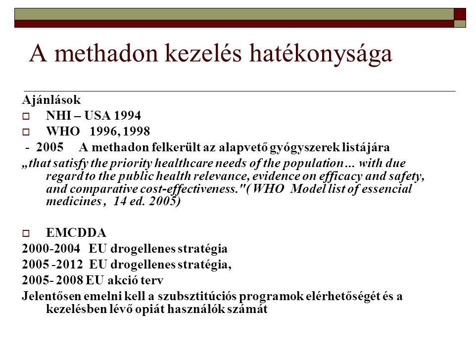 Magyarországi igény  2000 ben a Parlament által elfogadott Nemzeti stratégia a kábítószer probléma visszaszorítására kiemeli a methadon kezelések bővítésének szükségességét  90 –és években heroin fogyasztás robbanásszerű emelkedése  Problémás drogfogyasztók száma 2005 ben, kb.