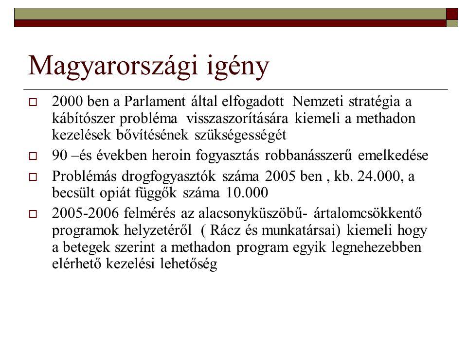 Magyarországi fejlődés  Első kezelés 1992 ben ( Nyírő Gyula Kórház Drogambulancia)  Fővárosi ANTSZ engedélyezi a methadon kezeléseket  Szakmai protokoll 1997 ben, 1999, 2000, 2004, 2007  Egészségügyi közlöny 2002.04.25 - Pszichiátriai Szakmai Kollégium módszertani levele a métádon kezelés szakmai irányelveiről  Egészségügyi közlöny 2002.05.12 - methadon kezelés OEP finanszírozása