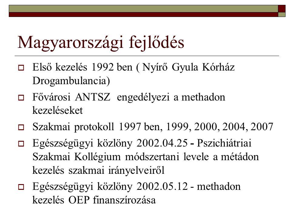 Magyarországi fejlődés  Első kezelés 1992 ben ( Nyírő Gyula Kórház Drogambulancia)  Fővárosi ANTSZ engedélyezi a methadon kezeléseket  Szakmai prot