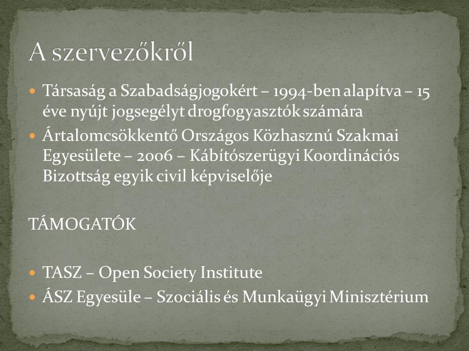 Társaság a Szabadságjogokért – 1994-ben alapítva – 15 éve nyújt jogsegélyt drogfogyasztók számára Ártalomcsökkentő Országos Közhasznú Szakmai Egyesülete – 2006 – Kábítószerügyi Koordinációs Bizottság egyik civil képviselője TÁMOGATÓK TASZ – Open Society Institute ÁSZ Egyesüle – Szociális és Munkaügyi Minisztérium