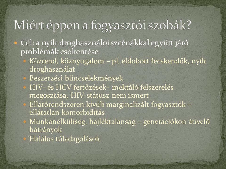 Cél: a nyílt droghasználói szcénákkal együtt járó problémák csökentése Közrend, köznyugalom – pl.