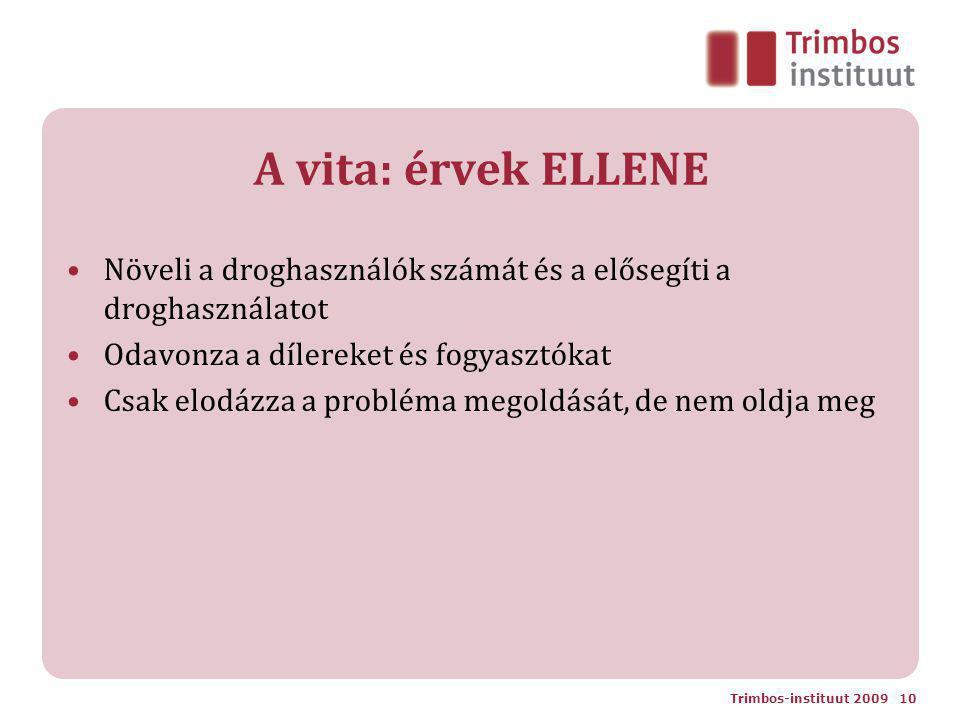 A vita: érvek ELLENE Növeli a droghasználók számát és a elősegíti a droghasználatot Odavonza a dílereket és fogyasztókat Csak elodázza a probléma megoldását, de nem oldja meg Trimbos-instituut 2009 10