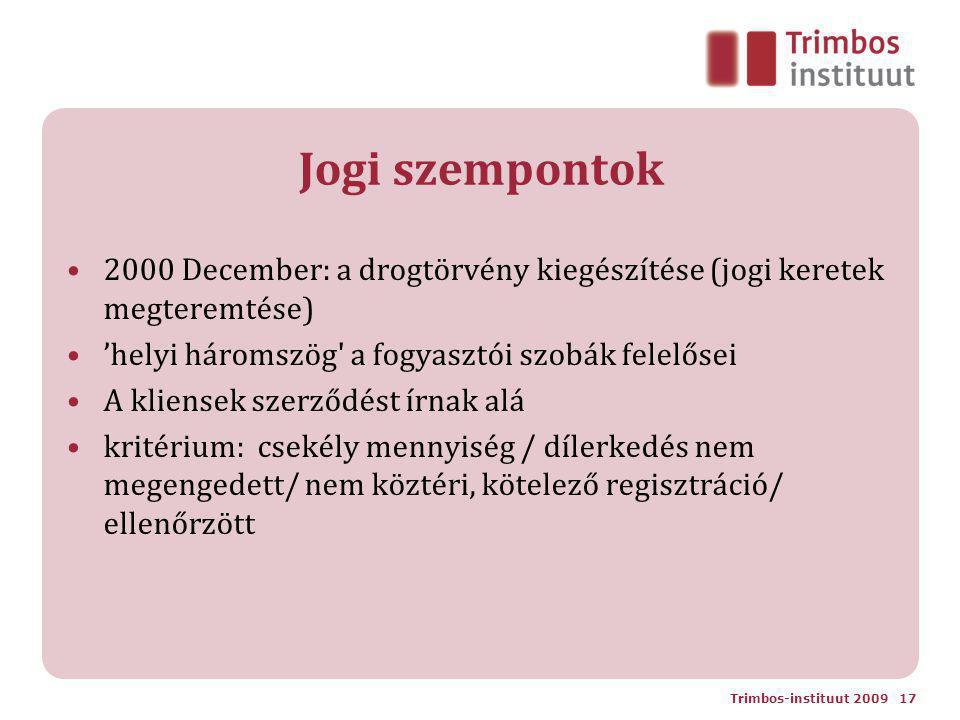 Jogi szempontok 2000 December: a drogtörvény kiegészítése (jogi keretek megteremtése) 'helyi háromszög a fogyasztói szobák felelősei A kliensek szerződést írnak alá kritérium: csekély mennyiség / dílerkedés nem megengedett/ nem köztéri, kötelező regisztráció/ ellenőrzött Trimbos-instituut 2009 17
