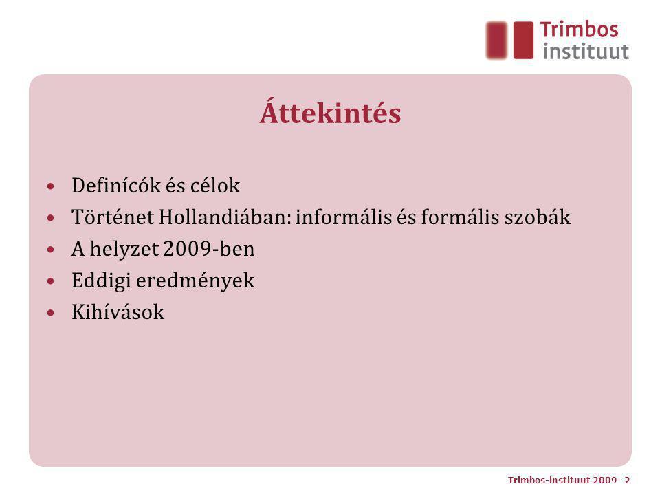 Áttekintés Definícók és célok Történet Hollandiában: informális és formális szobák A helyzet 2009-ben Eddigi eredmények Kihívások Trimbos-instituut 2009 2
